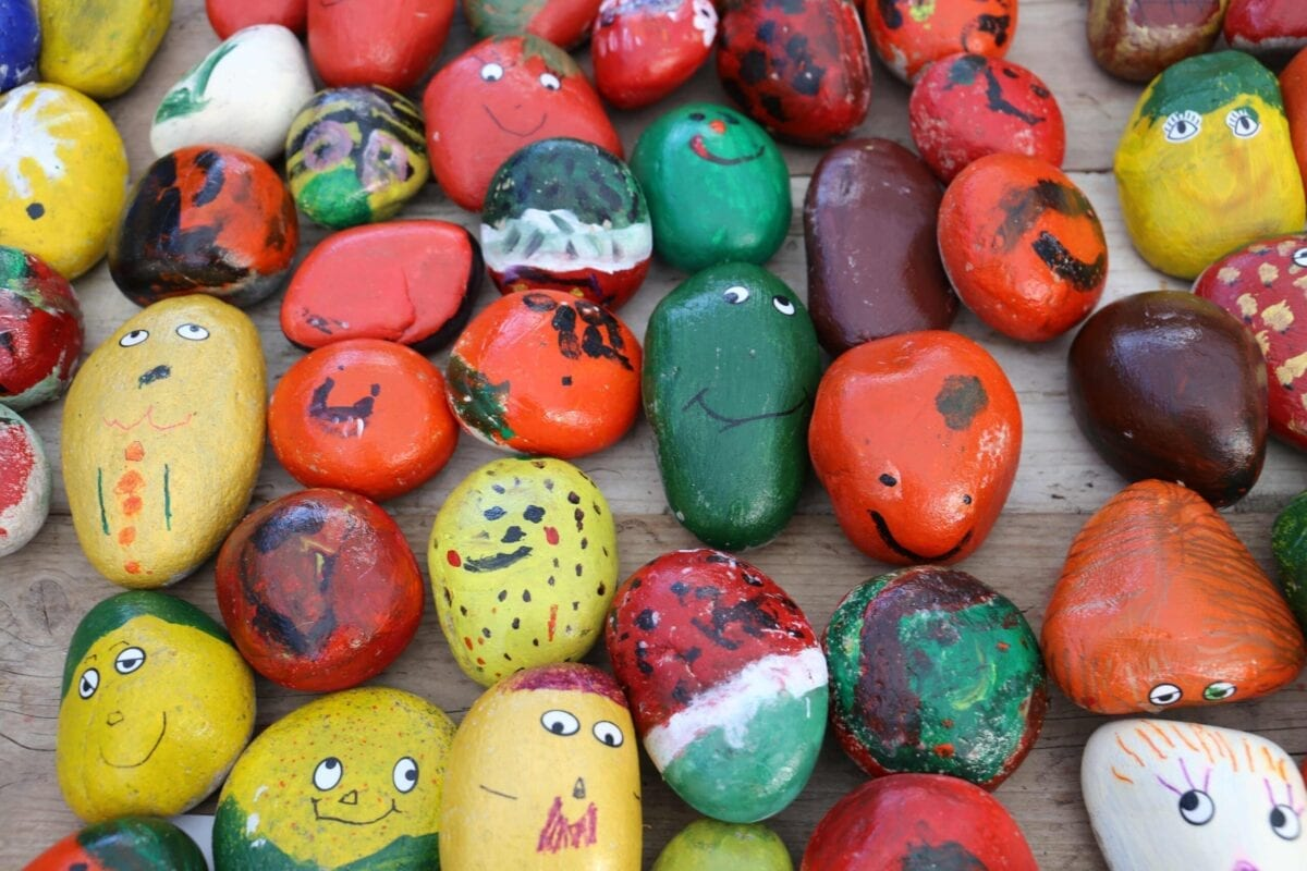 Children swap pebbles for veggies at Squires Garden Centre